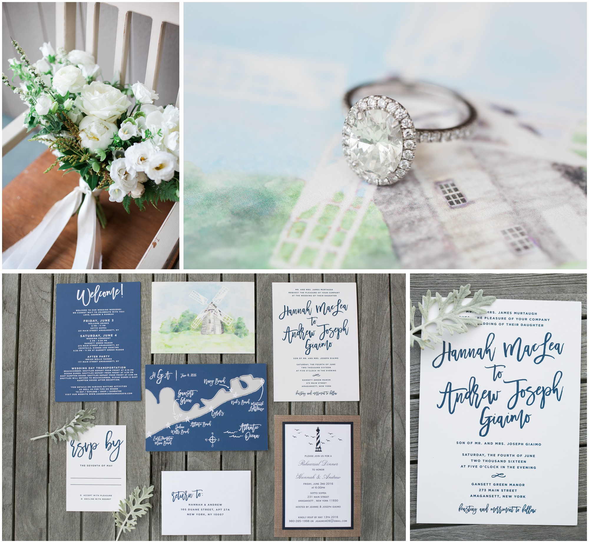 details of a wedding including rings, invitations, and bouquets for a wedding in amagansett long island