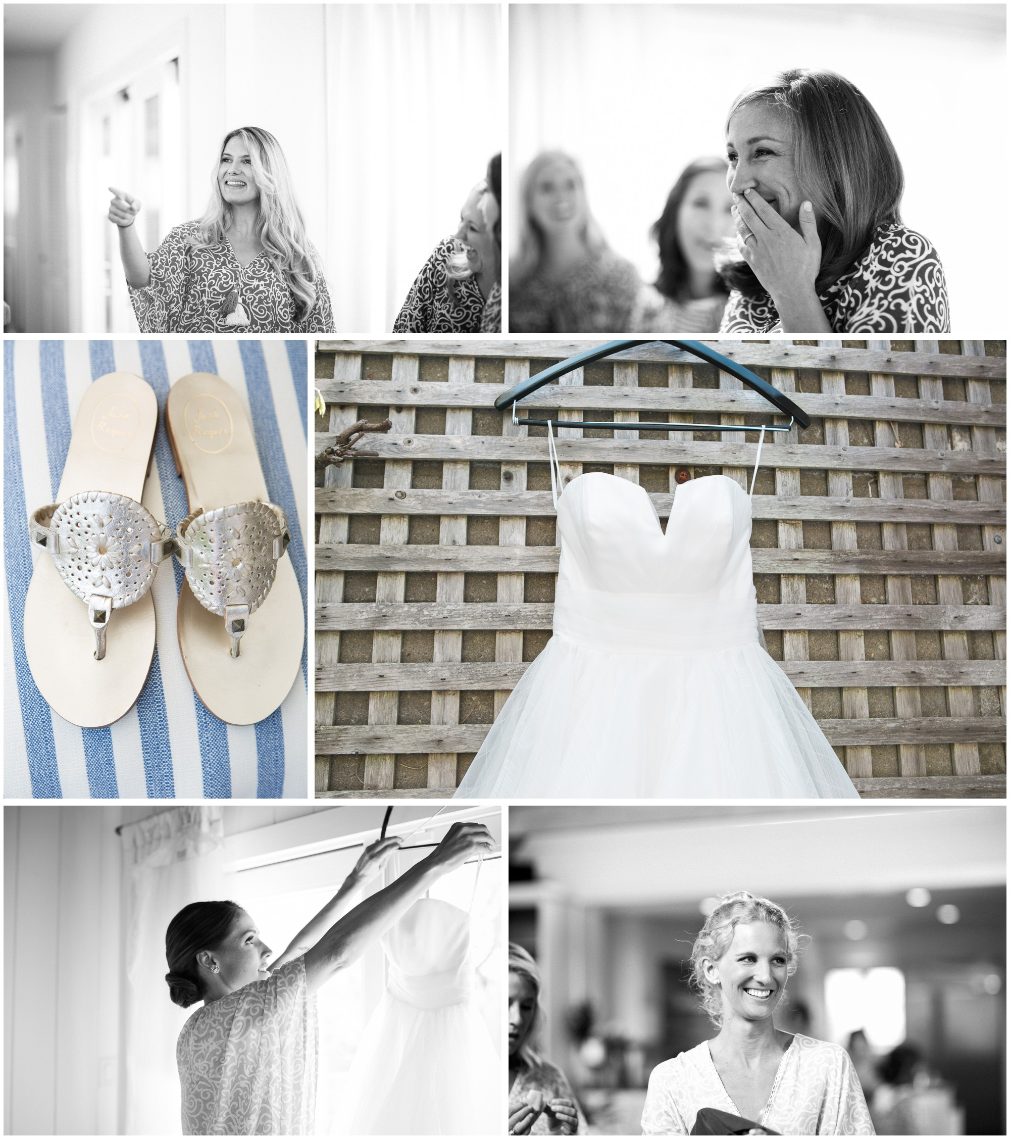 a collage of images showing a bride getting ready at a house in amagansett for her wedding at gansett green manor