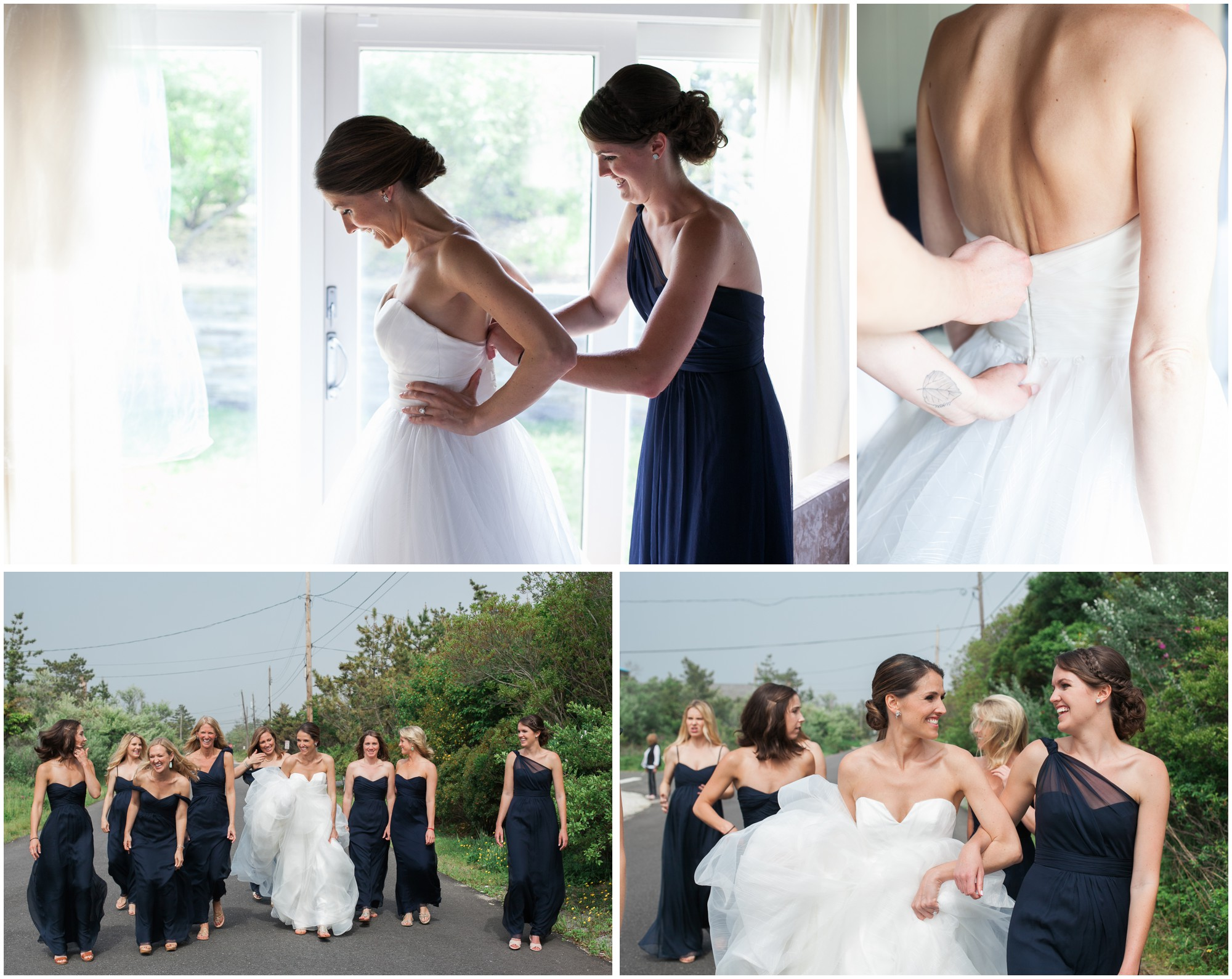 a bride gets ready with her maid of honor and bridesmaids at a private estate in the hamptons